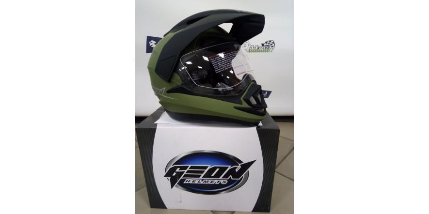 Мотошлем GEON 714 Дуал-спорт Trek Green Matt