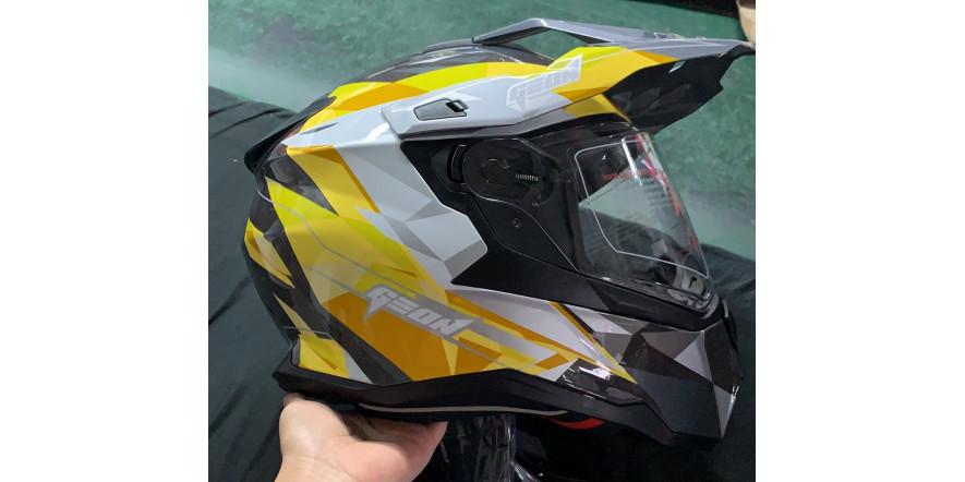 Мотошлем GEON 722 X-road Дуал-спорт с очками серо-жёлтый Dual-sport ADV