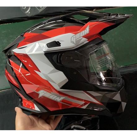 Мотошлем GEON 722 X-road Дуал-спорт с очками черно-красный Dual-sport ADV
