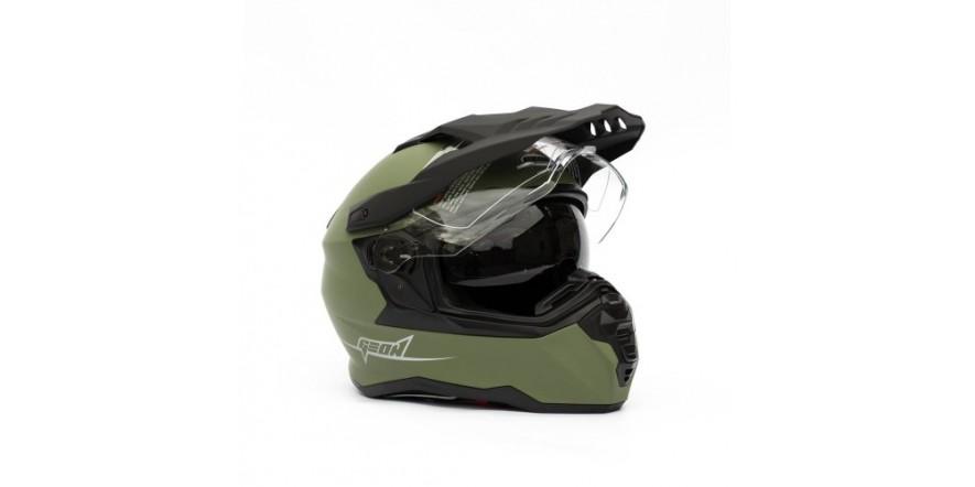 Мотошлем GEON 722 Дуал-спорт с очками зелёный матовый Dual-sport ADV