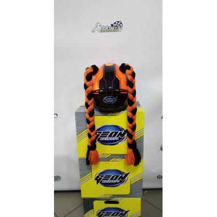 Хвосты косички на шлем двойные оранжево-чёрные 60 см