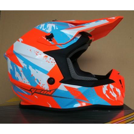 Мотошлем Geon 633 MX Fox Cross Blue/Neon Orange